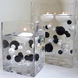 80 Jumbo & Assorted Sizes Black Pearls and White Pearls - Value Pack Vase Fillers. NOT INCLUDING THE TRANSPARENT WATER GELS FOR FLOATING THE PEARLS (SOLD SEPARATELY).