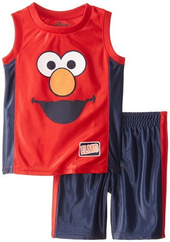 Sesame Street Little Boys' 2 Piece Elmo Dazzle Short Set, Chinese Red, 2T