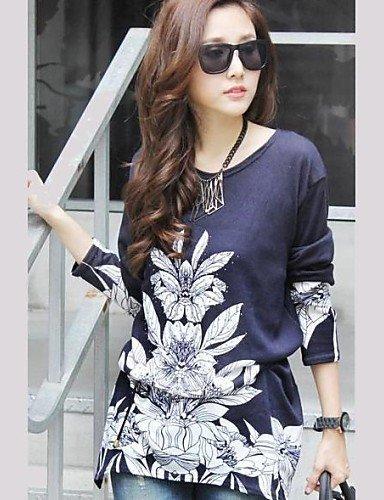 ZXR lunga t-shirt a manica lunga rotonda di stampa Collare formato più delle donne , dark blue-xl , dark blue-xl