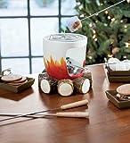 Ceramic Log and Fire Designed S'mores Maker with Sticks and Plates