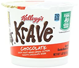 Kellogg\'s Krave Cereal-in-a-Cup, Milk Chocolate, 1.87 Ounce (Pack of 12)