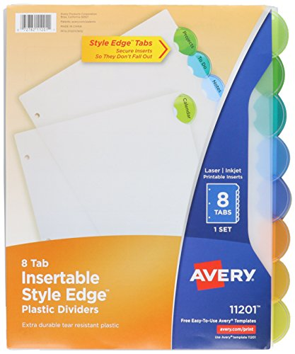 Avery Style Edge Insertable Plastic Dividers, 8-Tabs, 1 Set (11201)
