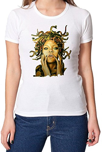 Rihanna Portrait With Snakes Instead Of Hair Fan Artwork maglietta da donna Small