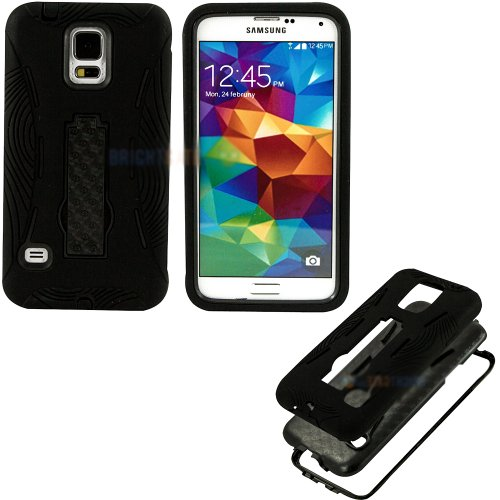 Mylife (Tm) Shocking Jet Black - Shock Suit Survivor Series (Built In Kickstand + Easy Grip Silicone) 3 Piece + 2 Layer Case For New Galaxy S5 (5G) Smartphone By Samsung (External Flex Silicone Bumper Gel + Internal 2 Piece Rubberized Snap Fitted Armor Pr