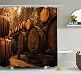 Ambesonne Winery Decor Collection, Barrels for Storage of Wine Italy Oak Container in Cold Dark Underground Cellar , Polyester Fabric Bathroom Shower Curtain Set with Hooks, Sienna Peru Brown