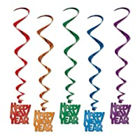 Assorted Color Happy New Year Whirls, 33-inch, (5 Per Package)