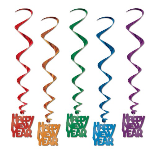 Beistle 80772-ASST Assorted Color Happy New Year Whirls, 33-Inch, 5 Per Package