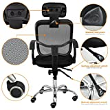 Acelectronic® Brand New Designed Office Swivel Stylish Chair Ergonomic Height Adjustable Desk Chair Mesh Seat Fabric (Black)