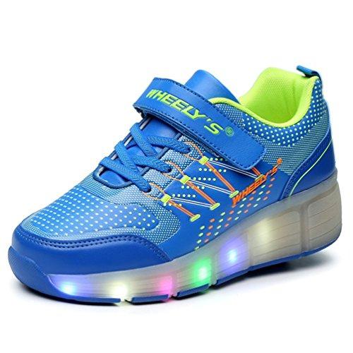 Zapatillas-con-ruedas-automticas-y-luces-LED-para-nios-Azul-Varias-tallas