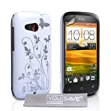 HTC Desire C Case White Butterfly Hard Cover With Screen Protectorby Yousave Accessories