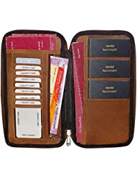 Style98 Hand Stiched Hunter Leather Travel Document Holder,Card Holder & Chequebook Holder For 3 Passports