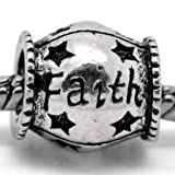 """ Faith ""Antiqued Silver Charm Barrel Bead Pandora Troll Chamilia Compatible"