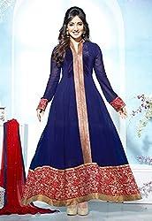 Aayushman Womens Faux Georgette Anarkali Semi-Stitched Dress Material (Jnx33421 _Midnight Blue)