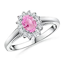 buy Oval Pink Sapphire And Diamond Halo Ring In 14K White Gold