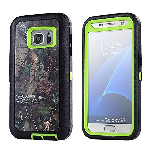 For Samsung Galaxy S7 Case - FiversTM Heavy Duty Case 3 in 1 Three Advantages Waterproof Dustproof Shakeproof with Forest Camouflage Desig Cell Phone Cases for Samsung Galaxy S7 Leaf- Green
