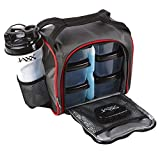 Fit and Fresh Jaxx Fuel Packs with Portion Control Containers, Reusable Ice Pack, and Shaker Cup, Red and Black