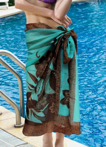 Tamari Mint Brown Floral Print Sarong Beach Cover Up Wrap Dress For Women One Size