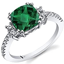 buy 14K White Gold Created Emerald Ring Cushion Checkerboard Cut 2.00 Carats Size 5