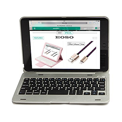 iPad Mini 4 Keyboard Case, Eoso Ultra Thin Folio Smart Stand Case Shell Cover with Wireless Bluetooth Keyboard For Apple iPad Mini 4 (Silver) (Slim Folio For Ipad Mini compare prices)