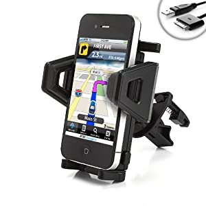 USA Gear Car AC / Air Vent Mount XL w/ Universal Adjusting Cradle for Apple iPhone 3G , 3GS , 4 , 4S (AT&T & Verizon) / Apple iPod Touch & Classic (Every Generation) - Incl. 30-pin Cable