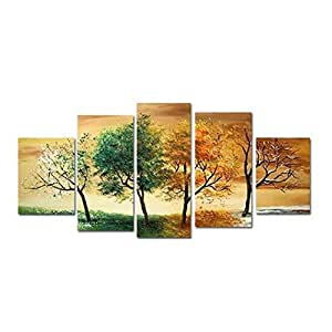 Amazon.com: HCOZY Paisaje decorativo 4 Temporada árbol Fotos pinturas