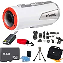 Polaroid XS100 XS100HD Extreme Edition HD 1080p 16MP Waterproof Sports Action Video Camera With Full Mounting Kit Included ULTIMATE BUNDLE with 16GB Micro SD Card, All in One Card Reader, Floating Strap, Mini Tripod, Case, Lens Cleaning Kit