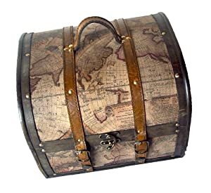 Treasure Map Wood Trunk - Treasure Box