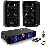 Party Musikanlage Beschallungsanlage PA Boxen 2400W Verstärker Kabelset DJ-Party 2