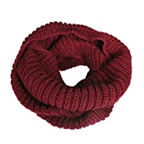 Wrapables Thick Knitted Winter Warm Infinity Wool Scarf - Burgundy