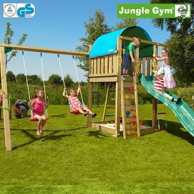 Jungle Gym Emmas VILLA – Spielturm Set mit Schaukel und Rutsche – Grün günstig