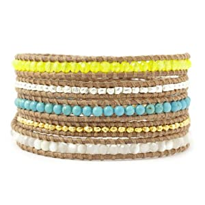 Chan Luu Neon Yellow Mix Wrap Bracelet on Beige Leather