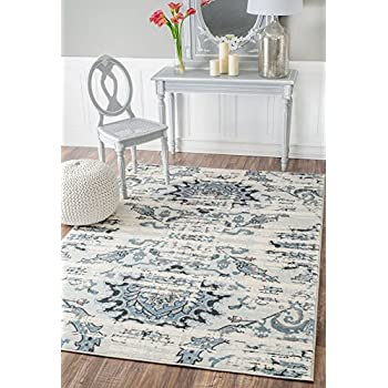 Rugs USA 5-Feet-by-8-Feet Vintage Distressed Mirrored Florette Area Rug, Cream