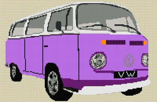 Volkswagen Camper Van Bay Window Cross Stitch Kit - Purple