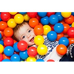 [Best price] Kids&#039 - Heavy Duty Plastic Soft Air-Filled Pit Balls for Ball Pits, Baby Playpen, Pack 'n Play, Bounce Houses, Play Tents, Playhouses, Kiddie Pools, etc. / 5 Bright Colors; Exciting Fun Toy for Toddler, Baby, Kids and Young Adults / Crush Proof,