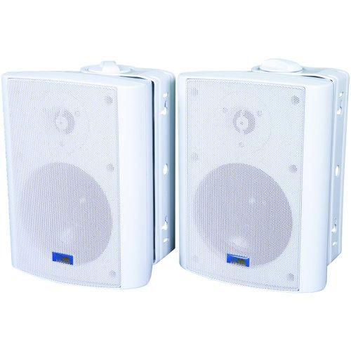 Indoor/Outdoor 75-Watt Speakers W 70-Volt Switching (White)