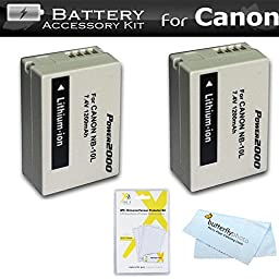 2 Pack Battery Kit For Canon PowerShot SX40 HS SX40HS, SX50 HS, SX50HS, G1 X G1X, Powershot G15, Canon PowerShot G16, SX60HS, SX60 HS Digital Camera Includes 2 Extended Replacement (1200Mah) NB-10L Batteries + LCD Screen Protectors + MicroFiber Cloth