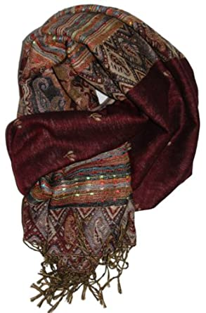 LibbySue-Foulard/Tapestry Border Pashmina in Burgundy