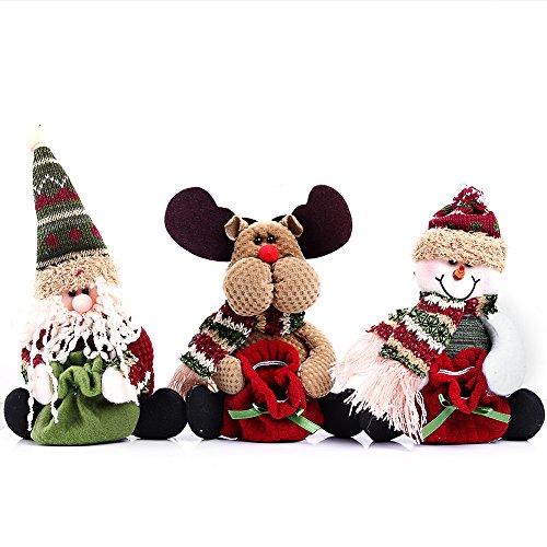 Borsa di Natale Candy, Kwock Albero di Natale Ornamento Del Sacchetto Per i Regali di Piccole Caramelle e Passatempi (Vecchio Uomo+Ogni+Pupazzo di Neve)