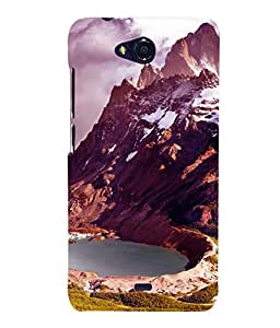 printtech Ice Mountain View Back Case Cover for MicromaxBolt Q335