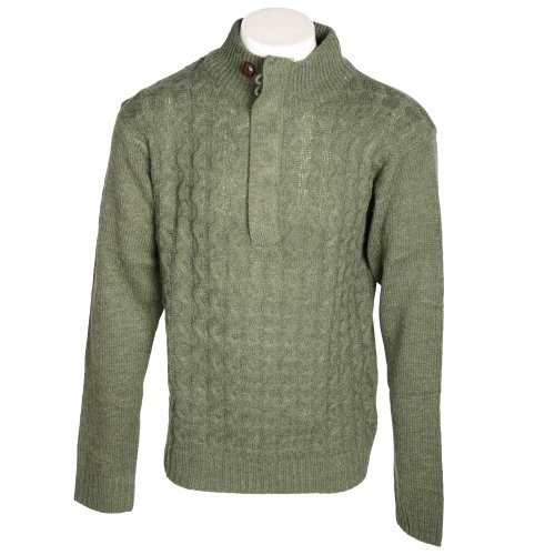 Fletcher & Lowe Men's Khaki Cable Front 1/4 Button Knitted Jumper in Size Large