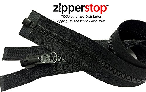 ZipperStop Wholesale YKK® - Vislon Jacket Zipper Reversible Slide YKK® #5 Molded Plastic Separating End - Color BLCK Custom Length (16 Inches)