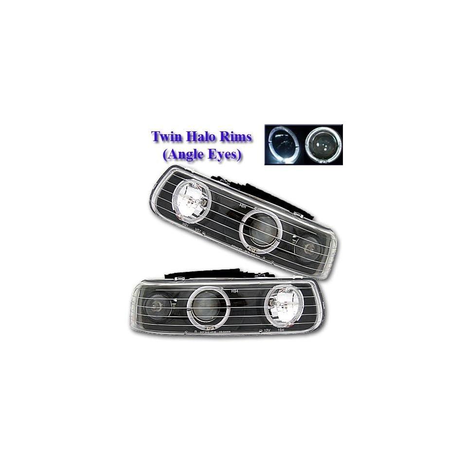 99 00 01 02 Chevy Silverado 00 03 Suburban/Tahoe Dual Halo Black Projector Headlights