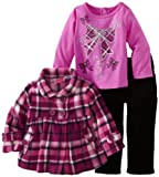 Young Hearts Baby-girls Infant 3 Piece Plaid Polar Fleece Bow Set