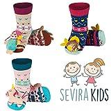 Sevira Kids - Lote de 3 pares de calcetines antideslizantes con sonajero 3D (ABS, hasta los 24 meses) Multicolor WINTER GIRL Talla:talla 19-21, suela 13 cm, 0-24 meses