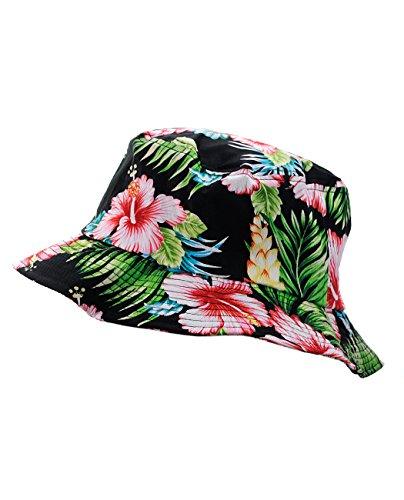 NYfashion101-Fashionable-Unisex-Satin-Lined-Printed-Pattern-Cotton-Bucket-Hat-Black-Floral-Medium