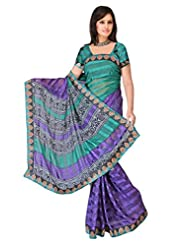 Sehgall Sarees Indian Bollywood Designer Professional Ethnic Alpheno Print With Lace Border Color Rama