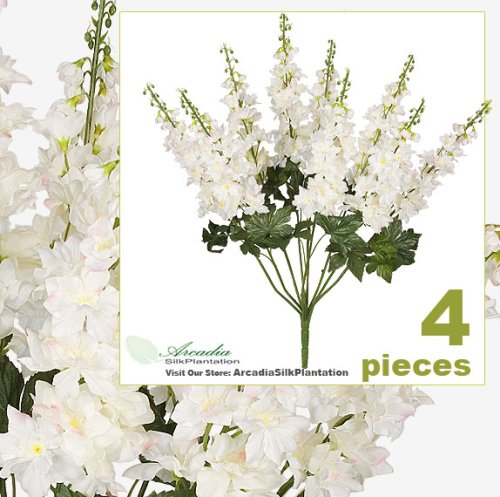 "FOUR 26"" Delphinium Artificial Flower Bushes in Bridal White for home or wedding decoration"
