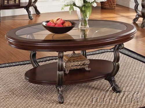 Bavol cherry finish wood oval shaped coffee table with glass insert and lower shelf