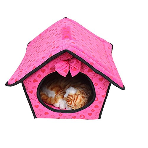 Baiyu Lovely Fashion Dog Pet House Bed Kennel Carrier Soft Cashmere Warm Detachable & Washable Cat Puppy Soft Cushion Bed Room with pads– L (343834 CM, suitable for less than 5KG Pets)
