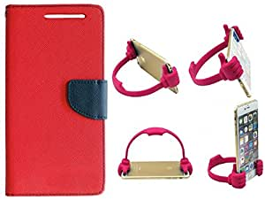 Novo Style Book Style Folio Wallet Case Sony Xperia C5 Red + Ok Stand For Smartphones And Tablets